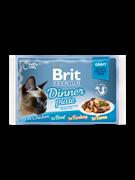 Brit Брит премиум Набор паучей д/кошек Dinner Plate Gravy Кусочки в соусе 4x85 г,