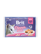 Brit Брит премиум Набор паучей д/кошек Dinner Plate Jelly Кусочки в желе 4x85 г