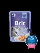 Brit Брит премиум Пауч д/кошек JELLY Salmon fillets Кусочки из филе лосося в желе 85 г