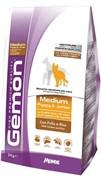 Gemon Dog Medium корм для щенков средних пород курица с рисом (15 кг)