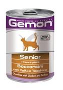 Gemon Cat консервы для пожилых кошек кусочки курицы с индейкой 415г
