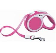 Поводок-рулетка до 25кг, 5м, ленточная Vario M  розовая
