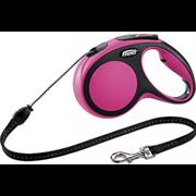 Поводок-рулетка до 20кг, 8м, тросовый New Comfort M розовая