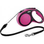 Поводок-рулетка до 20кг, 5м, тросовый New Comfort M розовая