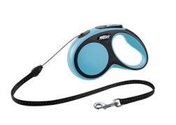 Поводок-рулетка для собак Flexi New Comfort S тросовый до 12кг, 5м Синяя