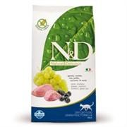 FARMINA N&D GF Сухой беззерновой корм для взрослых кошек с ягненком и черникой Adult Cat Lamb&Blueberry