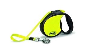 Flexi рулетка-ремень светоотражающая для собак до 50кг, 5м, neon reflect l tape 5m
