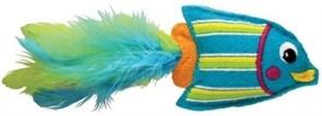 """KONG игрушка для кошек """"Тропическая рыбка"""" 12 см фетр/перья/кошачья мята голубая"""