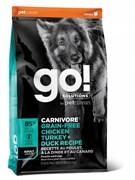 GO! беззерновой для взрослых Собак всех пород 4 вида мяса: Индейка, Курица, Лосось, Утка, GO! CARNIVORE GF (10 кг)