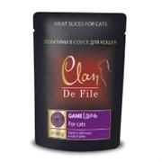 Clan De File Мясные ломтики в соусе для взрослых кошек (с дичью в соусе гриль)