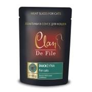 Clan De File Мясные ломтики в соусе для взрослых кошек (с уткой и зеленью)