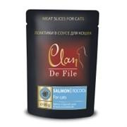 Clan De File Мясные ломтики в соусе для взрослых кошек (с лососем и шпинатом)