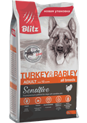 BLITZ ADULT Turkey &Barley корм для собак (15 кг)
