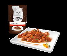 ГУРМЭ ALCTE корм для кошек кусочки в подливе говядина/овощи пакетик 85г