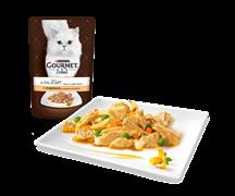 ГУРМЭ ALCTE корм для кошек кусочки в подливе индейка/овощи пакетик 85г