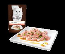 ГУРМЭ ALCTE корм для кошек кусочки в подливе лосось/овощи пакетик 85г