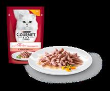 ГУРМЭ MON PETIT корм для кошек кусочки в соусе лосось пакетик 50г