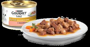 ГУРМЭ ГОЛД корм для кошек кусочки в соусе курица/лосось жесть 85г