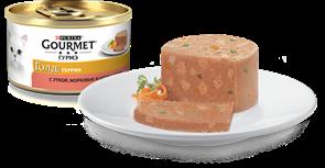 ГУРМЭ ГОЛД корм для кошек кусочки в паштете с уткой, морковью и шпинатом по-французски  жесть 85г