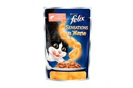 ФЕЛИКС Sensations корм для кошек кусочки в желе лосось/треска пакетик 85г