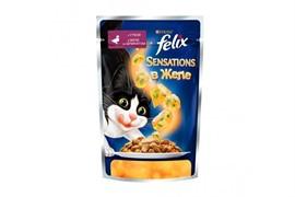 ФЕЛИКС Sensations корм для кошек кусочки в желе утка/шпинат пакетик 85г