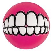 Rogz Мяч с принтом зубы и отверстием для лакомств GRINZ, розовый