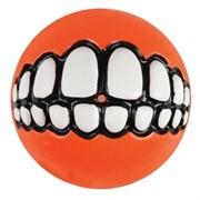 Rogz Мяч с принтом зубы и отверстием для лакомств GRINZ, оранжевый