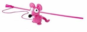 Rogz Игрушка-дразнилка для кошек: плюшевая мышка с кошачьей мятой, розовая