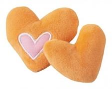 Rogz Игрушка для кошек: плюшевые сердечки с кошачьей мятой, оранжевые