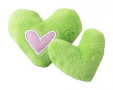 Rogz Игрушка для кошек: плюшевые сердечки с кошачьей мятой, лаймовые