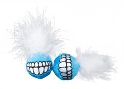 Rogz Игрушка для кошек: плюшевые мячики Grinz с кошачьей мятой, синие