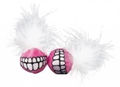 Rogz Игрушка для кошек: плюшевые мячики Grinz с кошачьей мятой, розовые