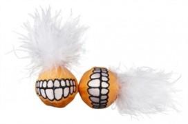 Rogz Игрушка для кошек: плюшевые мячики Grinz с кошачьей мятой, оранжевые