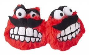Rogz Игрушка для кошек: плюшевые мячики Fluffy Grinz с кошачьей мятой, красные