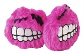 Rogz Игрушка для кошек: плюшевые мячики Fluffy Grinz с кошачьей мятой, розовые