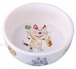 Dezzie Миска керамическая для кошек, 300 мл, 12,5 х 4,5 см