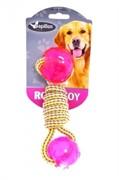 Игрушка для собак Плетеная гантелька с двумя шариками, 17 см