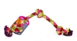 Игрушка для собак Плетеная цветная веревка с 3 узлами, 61см