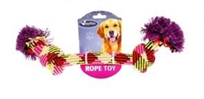 Игрушка для собак Плетеная цветная с двумя узлами, 33 см
