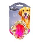 Игрушка для собак Плетеный мячик с пластиковым кольцом, 8 см