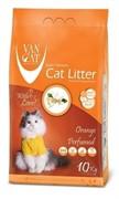 VAN CAT Комкующийся наполнитель без пыли с ароматом Апельсина, пакет (Orange) 10 кг