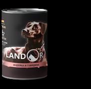 Landor PUPPY ALL BREED TURKEY AND BEEF - Полноценный сбалансированный влажный корм для щенков всех пород индейка с говядиной