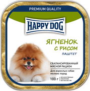 Happy Dog Ягнёнок с рисом паштет 0,1 кг.