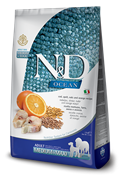 FARMINA N&D LG Сухой низкозерновой корм для взрослых собак с треской, апельсином, спельтой и овсом Adult Maxi Godfish&Orange (12 кг)