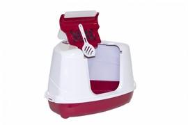 Moderna Туалет-домик угловой Flip с угольным фильтром, 55х45х38см, ярко-розовый (Flip corner)