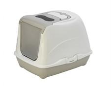 Moderna Туалет-домик Flip с угольным фильтром, 50х39х37см, теплый серый (Flip cat 50 cm)