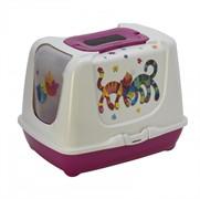 Moderna Туалет-домик Trendy cat с угольным фильтром и совком, 57х45х43, Друзья навсегда, ярко-розовый (trendy 57cm friends forever)