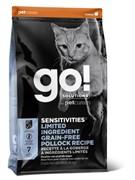 GO! NATURAL HOLISTIC Беззерновой для котят и кошек с чувств. пищеварением с минтаем (Sensitivity + Shine Grain Free Pollock Cat Recipe) 30/15 (7,26 кг)