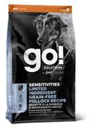 GO! NATURAL HOLISTIC Беззерновой для щенков и собак с минтаем для чувст. пищеварения (Sensitivity + Shine LID Pollock Dog Recipe, Grain Free, Potato Free) 24-12