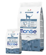 Monge Cat Monoprotein Sterilised Trout корм для стерилизованных кошек с форелью 10 кг